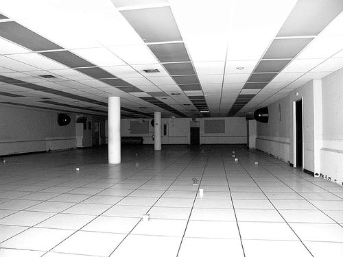 empty computer room - abandoned building basement, basement, computer room, empty, san francisco old mint, tiles
