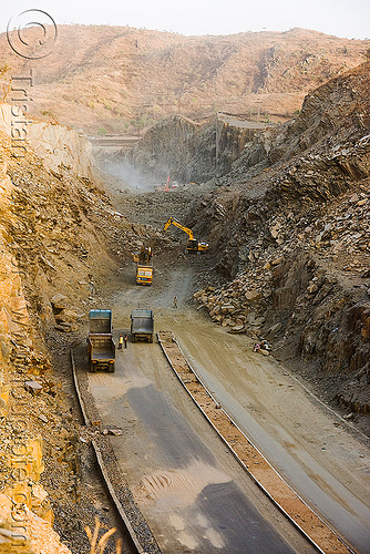 the end of the road - freeway construction near udaipur (india), at work, excavator, freeway construction, groundwork, heavy equipment, hydraulic, machinery, road construction, roadworks, trucks, udaipur, working