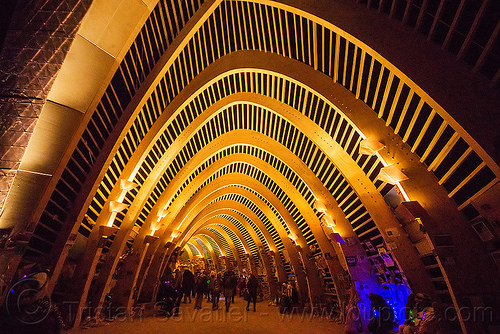 entrance of the temple of promise at night - burning man 2015, arches, architecture, frame, night, temple of promise, vault