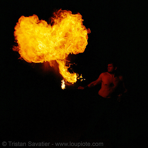 eric breathing fire (san francisco), fire breather, fire breathing, fire eater, fire eating, flames, night