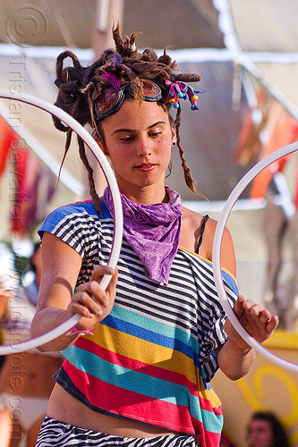 erika with mini hoops - burning man 2012, bandana, burning man, center camp, dreadlocks, dreads, erika, goggles, hooping, mini hoops, stripes