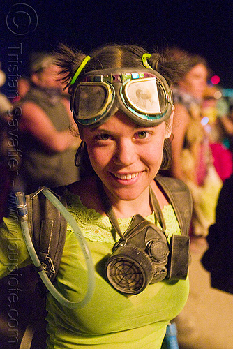 erin dancing - goggles - dust mask, 3m respirator, burning man, dryad siren, dust mask, goggles, respirator cartridges, woman