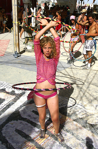 erin with hula hoops - burning man 2007, center camp, people, woman