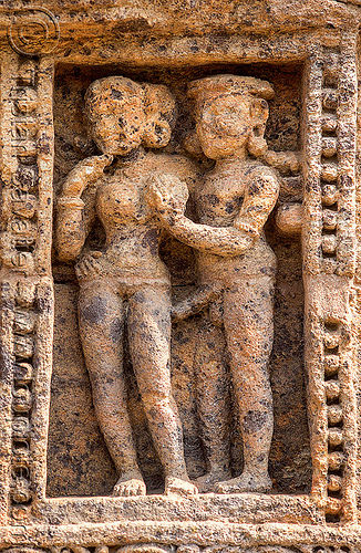 erotic sculpture - konark sun temple (india), erotic sculptures, high-relief, hindu temple, hinduism, india, konark sun temple, maithuna