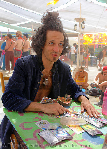 "evan the tarot man: ""you got the DEATH card!"" - burning-man 2006, burning man, center camp, evan, tarot"
