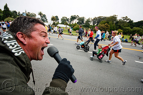 evangelist - religious fanatic, bay to breakers, festival, footrace, man, microphone, mike, preacher, religion, religious fanatic, runners, street party, strollers