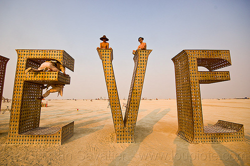 EVE of BELIEVE - giant letters sculpture -  burning man 2013, art installation, believe, big words, burning man, letters, metal sculpture
