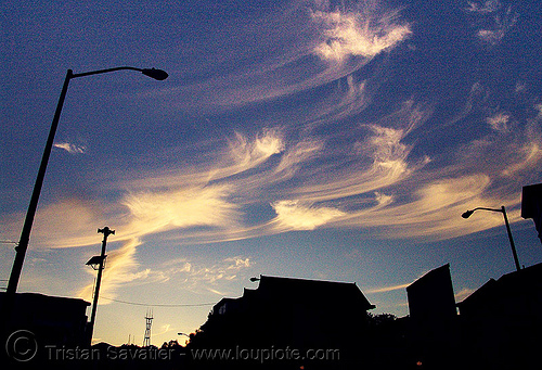 evening sky with cirrus clouds (san francisco), 22nd street, backlight, blue, cirrus clouds, city, cityscape, evening, high clouds, lamp poles, mares' tails, sunset, sutro tower