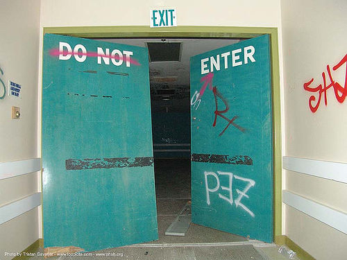 exit - do not enter - broken doors - green - abandoned hospital (presidio, san francisco) - phsh, abandoned building, abandoned hospital, broken, decay, do not enter, doors, exit, graffiti, green, presidio hospital, presidio landmark apartments, trespassing