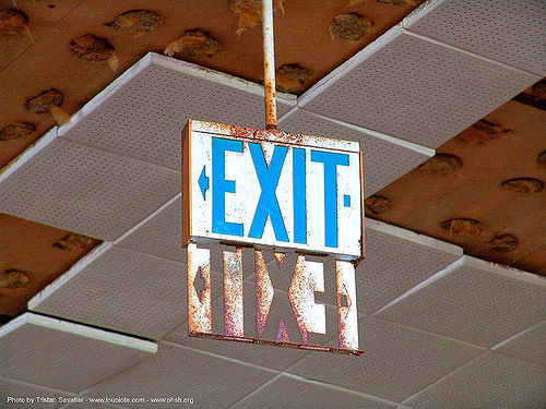 exit - exit sign - abandoned hospital (presidio, san francisco) - phsh, abandoned building, abandoned hospital, graffiti, presidio hospital, presidio landmark apartments, trespassing