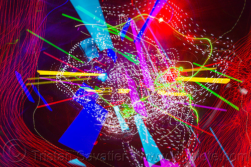 explosion of light, abstract, club, color lights, disco lights, led lights, long exposure, new years eve 2011, night, nye, opel, opulent temple, strobes
