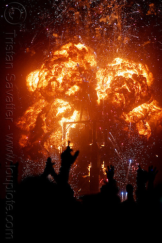 explosion - the man burns - burning man 2010, bleve, burning man, fire ball, night of the burn, pyrotechnic explosion, pyrotechnics, the man