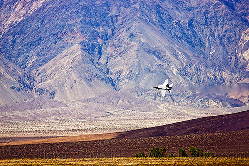 F-18 hornet low fly-by, aircraft, army, death valley, desert, f-18 hornet, f/a-18 hornet, fighter jet, fly-by, flying, inyo mountains, low altitude, military plane, saline valley hot springs, training, trees, us air force