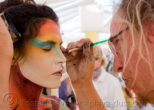 face paint - burning man 2008, body art, body paint, body painting, burning man, center camp, woman