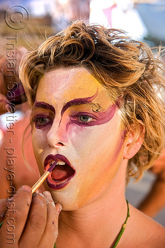 face paint - gabrielle - burning man 2008, body paint, body painting, burning man, makeup, woman
