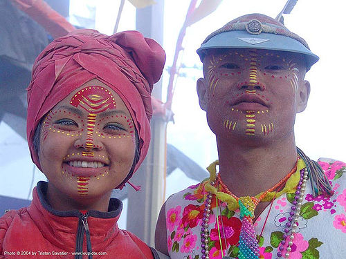 face paint - japanese couple - burning-man 2004, art, burning man, center camp, face painting, facepaint, people, woman