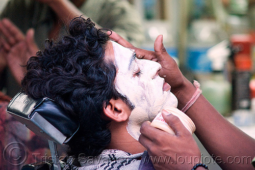 facial lotion - barber shop - delhi (india), barber shop, cream, delhi, hands, lotion, man, people, skin care, street, white