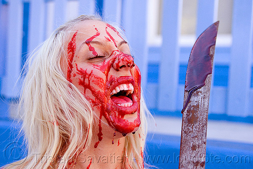 fake blood, blade, bleeding, blonde, bloody, fake blood, halloween, knife, lusha, machete, makeup, red, special effects, stage blood, theatrical blood, woman, zombie