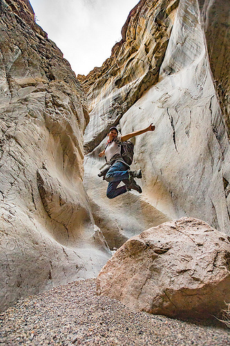 fall canyon - jumping in the narrows - death valley national park (california), death valley, desert, fall canyon, hiking, juming, jumpshot, marble, narrows
