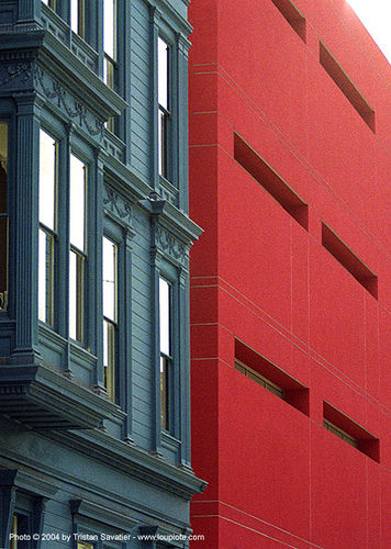 fallon building (san francisco), architecture, blue, fallon building, modern, red, victorian house