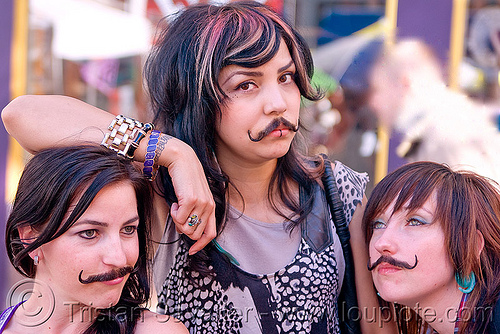 false moustache girls, fake moustaches, fake mustaches, false moustaches, false mustaches, haight street fair, people, sarah, three, women