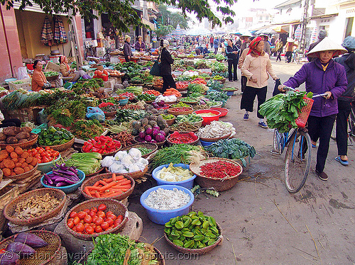 farmers market - vietnam, colorful, farmers market, lang sơn, street market, street seller, vegetables, veggies, vietnam
