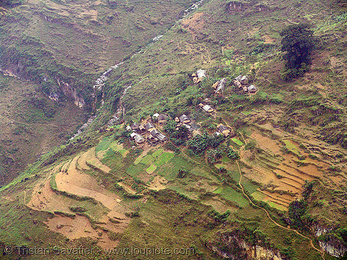 farms on a hillside - vietnam, farms, fields, hillside, mountain, rugged, steep, stream, vietnam
