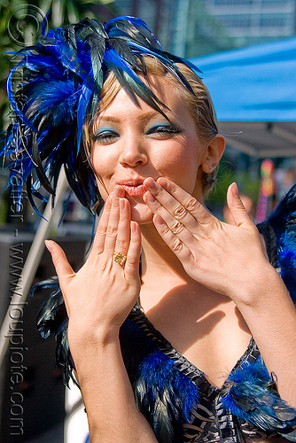 fashion model with blue feathers headdress - blowing a kiss (san francisco), bethany, blue, costume, feathers, hat, woman