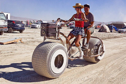 fat tire bicycle, bicycle, bike, burning man, couple, fat tires, riding, woman