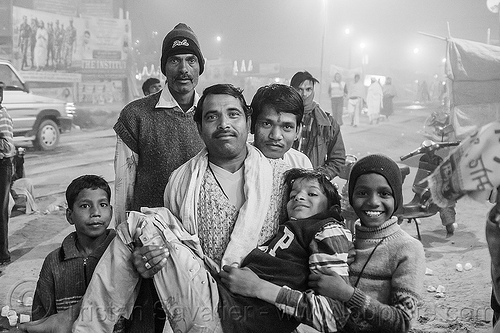 father and his children at kumbh mela 2013 (india), boys, children, family, group, hindu, hinduism, kids, kumbha mela, maha kumbh mela, men, night, pilgrims, street, yatri