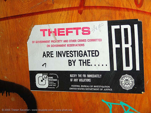 fbi-sticker - thefts are investigated  by the FBI - sign on door - abandoned hospital (presidio, san francisco) - phsh, abandoned building, abandoned hospital, fbi, presidio hospital, presidio landmark apartments, sign, trespassing