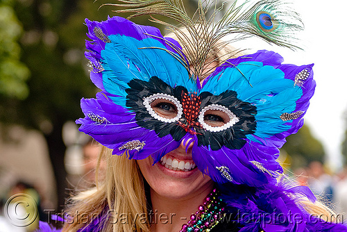 feather mardi gras mask, bay to breakers, blue, carnival mask, footrace, mardi gras mask, masquerade mask, peacock feathers, street party, woman
