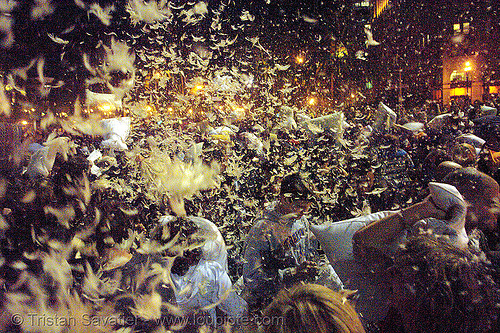 feathers flying at the great san francisco pillow fight 2007, chaos, crowd, down feathers, duvet, flashmob, justin herman plaza, night, pillow fight club, pillows, san francisco pillow fight, world pillow fight day