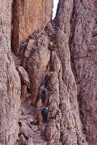 ferrata santner - dolomites, alps, cliff, climbers, dolomites, dolomiti, ferrata santner, mountain climbing, mountaineer, mountaineering, mountains, people, rock climbing, vertical, via ferrata del passo santner