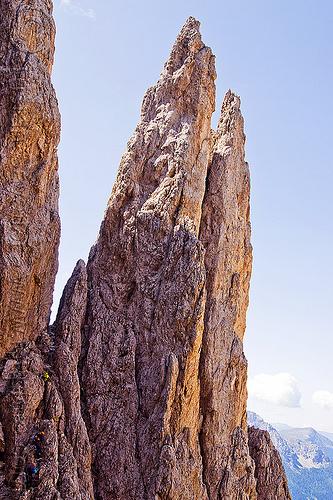 ferrata santner - dolomites, alps, cliff, climbers, dolomites, dolomiti, ferrata santner, mountain climbing, mountaineer, mountaineering, mountains, rock climbing, vertical, via ferrata del passo santner