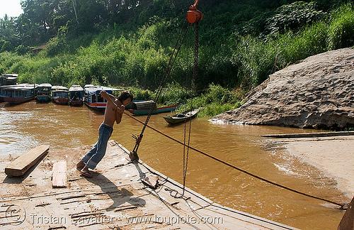 ferry boat on mekong river - luang prabang (laos)