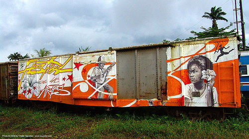 festival-de-las-artes - painting on train car - semi-abandoned train yard in puerto limon (costa rica), atlantic railway, costa rica, freight train car, paint, painted, puerto limon, rusty, train depot, train yard, trespassing