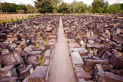 field of ruins, archaeology, blocks, candi prambanan, hindu, hindu temple, hinduism, java, jogja, jogjakarta, puzzle, stones, yogyakarta