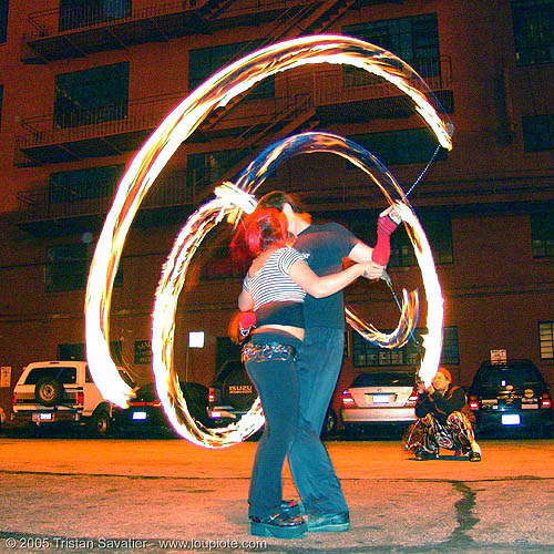 fiery kiss with bridget - LSD fuego - fire dancers, bridget h, fire dancer, fire dancing, fire performer, fire poi, fire spinning, kiss, love, night, spinning fire
