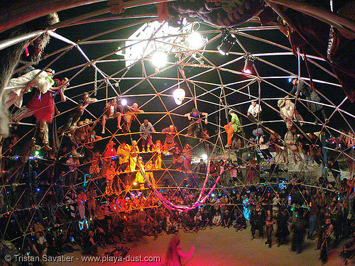 fighting performance inside death guild thunderdome - burning-man 2005, burning man, death, dgtd, fisheye, geodesic dome, guild, night