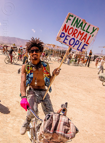 finally normal people - miguel mecidi - burning man 2015, man, miguel mecidi, sign