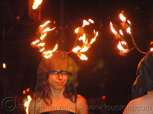fire antlers, art, burning, fire art, fire arts festival, flames, people, the crucible, woman