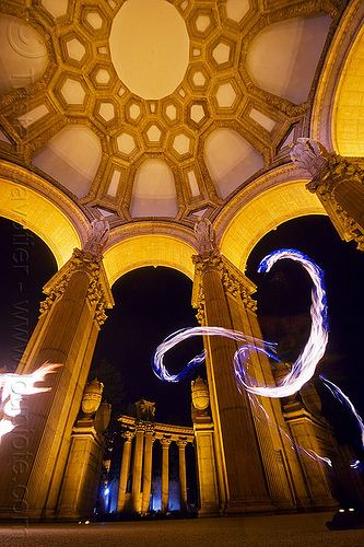 fire artists at the palace of fine arts (san francisco), columns, dome, fire dancer, fire dancing, fire performer, fire spinning, flames, night, people