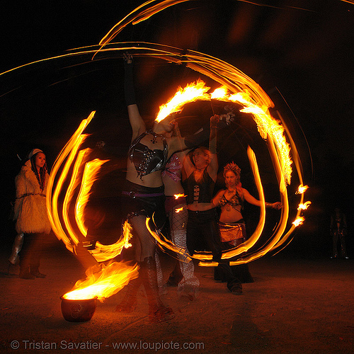 fire artists (bomtribe) - san francisco, fire dancer, fire dancing, fire hula hoop, fire performer, fire spinning, hula hooping, hula hoops, night, spinning fire
