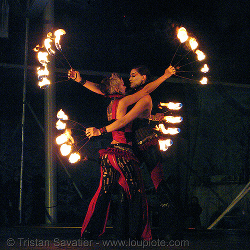 fire arts exposition 2006 - burning man, burning man fire arts exposition, fire dancer, fire dancing, fire performer, fire spinning, flames, night, wendy, xeno, xenodrome