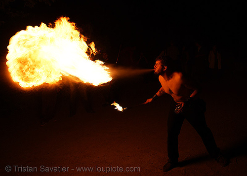 breathing fire  (san francisco), fire breather, fire breathing, fire eater, fire eating, flames, night, people