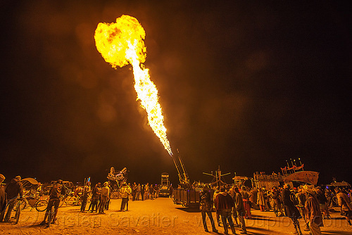 fire cannon - burning man 2015, burning man, fire cannon, flames, night, unidentified art car