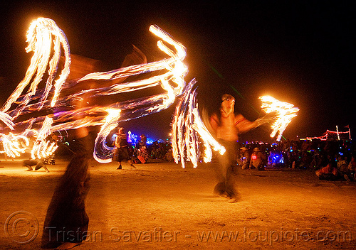 fire conclave - pyroklectic - azzah and WMD with the fire fans and dangermouse with fire sword - burning man 2009, azzah, burning man, dangermouse, fire conclave, fire dancer, fire dancing, fire performer, fire spinning, flames, night of the burn, pyroklectic, spinning fire, wmd