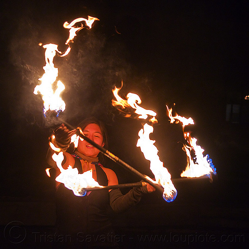 "fire dancer ""mel"" with double fire staffs, fire dancer, fire dancing, fire performer, fire staff, flames, mel, night, staffs fire, staves double, woman"