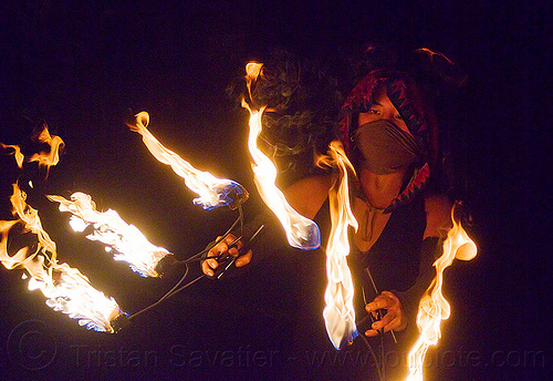 "fire dancer ""mel"" with fire fans, fire dancing, fire performer, flames, night, people, woman"